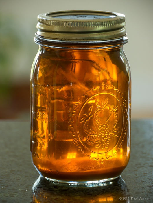 a jar of maple syrup