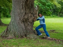 Lori hams it up with an old Weeping Willow tree