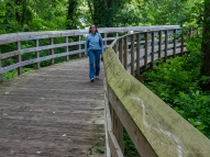 Lori on a boardwalk between footbridges