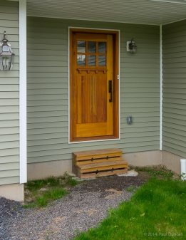 Front entrance, temporary steps