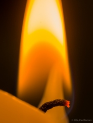 Candle wick and flame