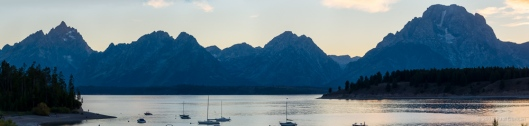 Tetons at Jackson Lake in the evening