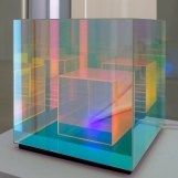 Corning Museum of Glass: Sean Augustine March; optical-grade dichroic borosilicate plate glass, five-watt LED bulb, silicone, cord, electronic components, wood.