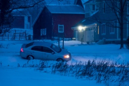 First car runs off the road onto our property this season.