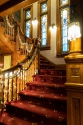 Decorated for the holidays, this original staircase in the Bundy Queen Anne style Victorian home dates from the 1890s.