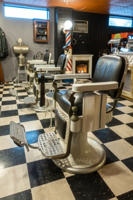 Originally O.K. Barbershop, it was located in Endicott directly across the street from IBM. The contents of the shop were saved when it closed in 1982 and are now on display.