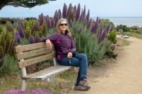 Lori is color coordinated on the Monterey Bay Coastal Trail