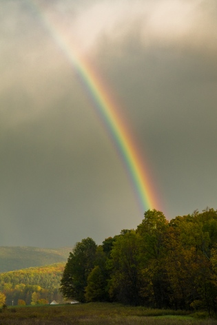 This Fall rainbow appeared at the tail end of a brief heavy sleet storm.