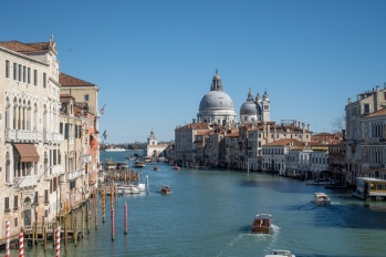 View from Ponte dell'Accademia looking toward Basilica di Santa Maria della Salute along the Grand Canal