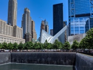 The Oculus viewed from the 9/11 north tower Memorial.