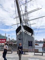 Lori and Stella at South Street Seaport in front of the Wavertree. Built in 1885, it was the last sailing ship built of wrought iron.