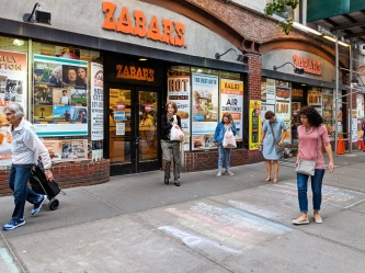 Stella emerges from shopping at Zabar's, a must-do on the West Side.