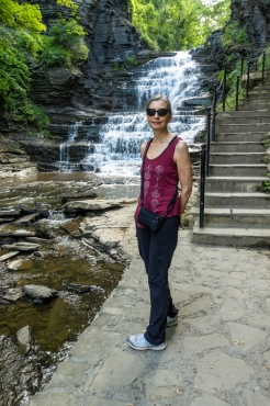 Lori pauses along the Cascadilla Gorge Trail.