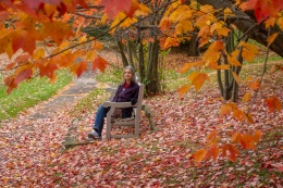 Lori enjoys the red-maple ambience.