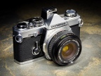The Olympus OM-2n single lens reflex (SLR) camera is a 35mm film camera made in the early 1980s. Here it is coupled with an Olympus Zuiko 28mm f/3.5 lens.