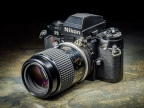 The Nikon F3 35mm single-lens reflex (SLR) camera was introduced in 1980 followed shortly by the F3HP High Eyepoint version. This camera has a 105mm f/2.8 Micro-Nikkor lens mounted.