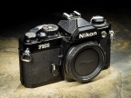 The Nikon FM2 35mm single-lens reflex (SLR) camera had a built-in light meter but automated nothing. One advantage is that the camera could still be operated with a dead battery.